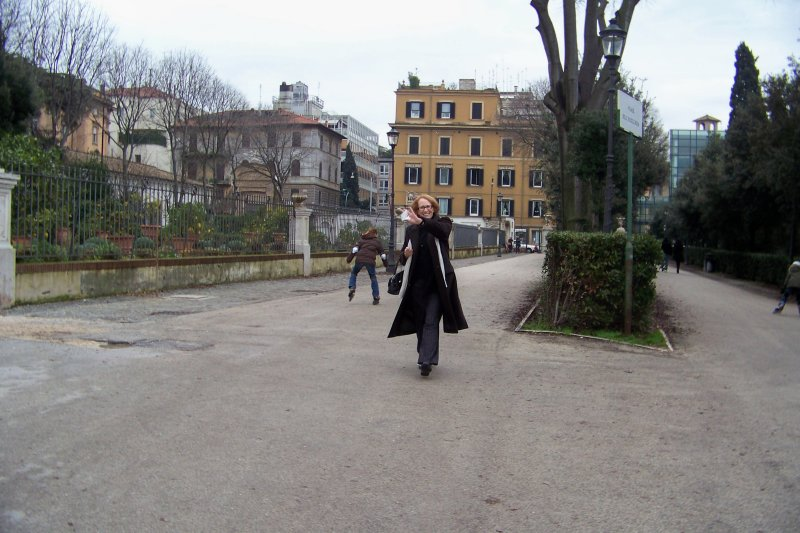 Mom arriving at Borghese