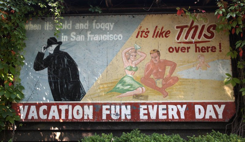 1950s advertising sign for Marin Town & Country Club outside of pool house