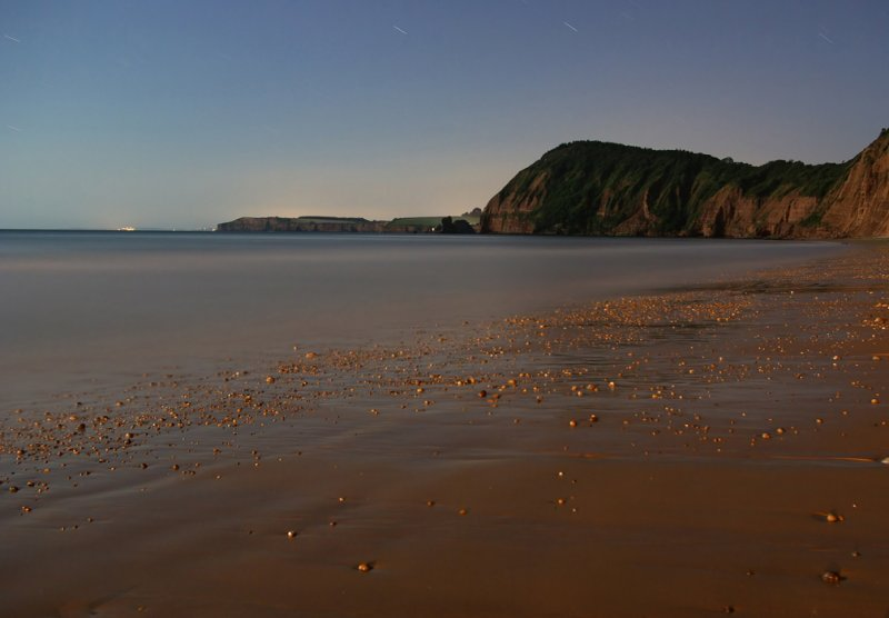 Sidmouth lit only by moonlight