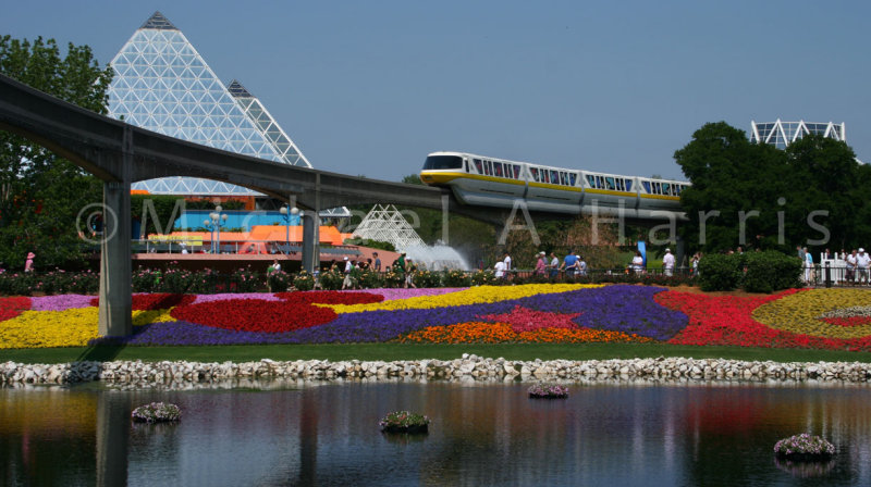 Monorail enters EPCOT Center