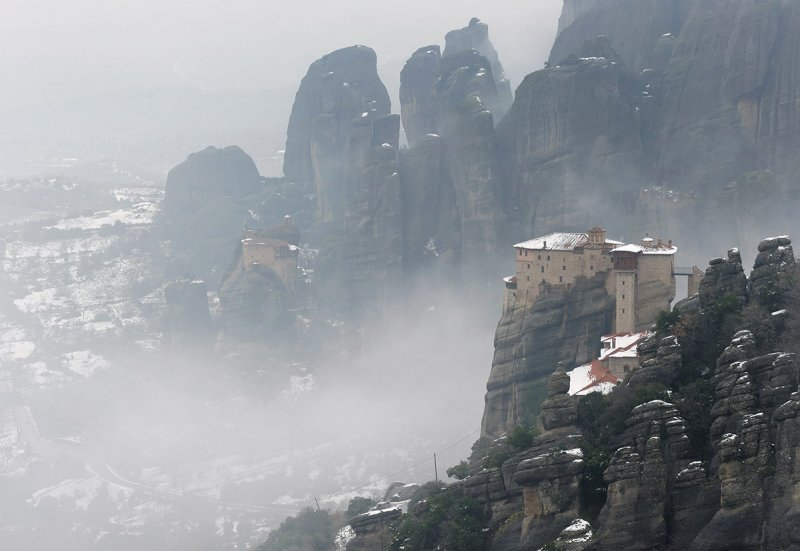 Meteora. Roussanou monastery on the front and Agios Nikolaos Anapaphas in the distance