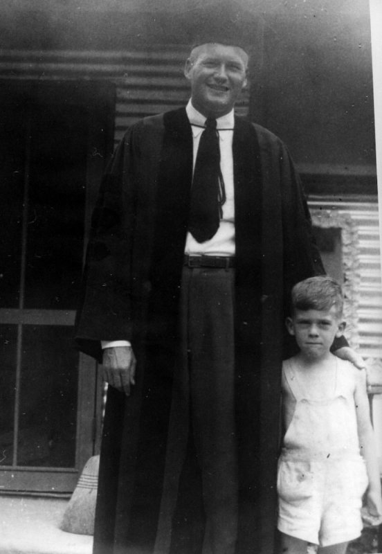 Bill, as a new Ph. D., with son, Bill