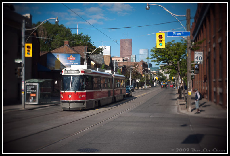 Street Car at the intersection of Queen & River Streets