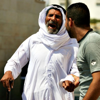 Blind Palestinian villager during protest - Bilin