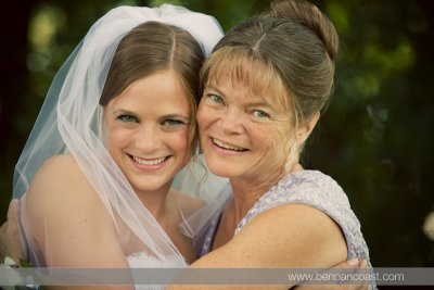 A portrait of the Mother of the bride with the bride.