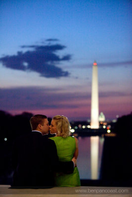 Lincoln Memorial, engagement photos, sunrise over Washington DC.