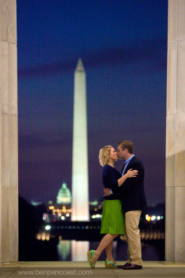 Sunrise engagement photo, Washington DC, Washington Monument and the capitol building.