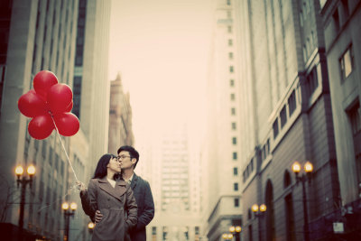 Lasalle st engagement photos in downtown Chicago IL