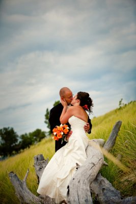 Bridal portrait on the beach in Saint Joseph Michigan