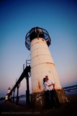 Saint Joseph, Lighthouse, Engagement Photo, sunset, Lake Michigan