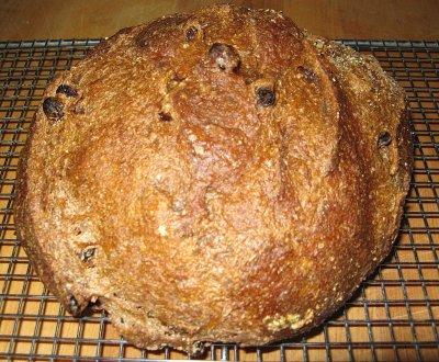 A loaf of Dark Pumpernickel Raisin Bread