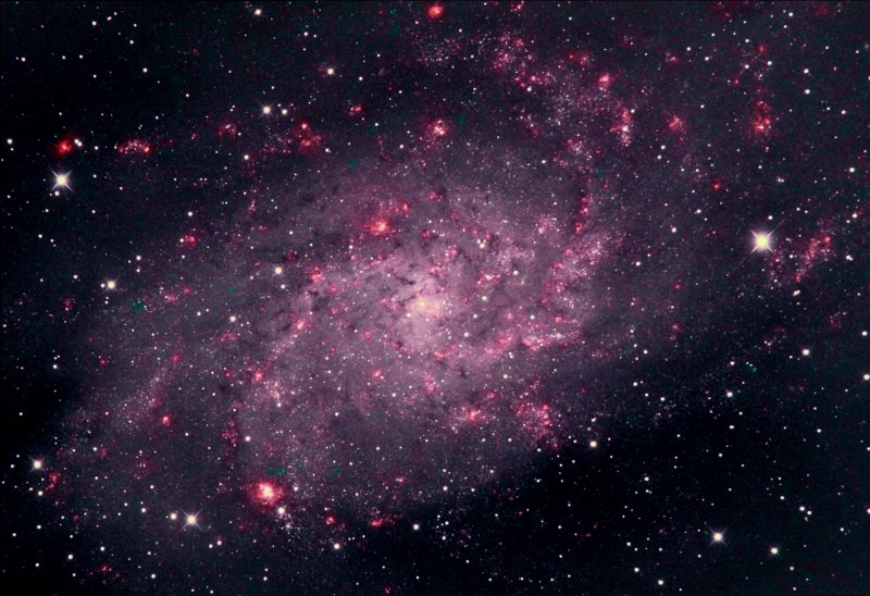 Messier-33 with HOO false colours
