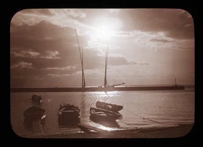 Barques sur le Léman (Daprès un positif sur verre de mon Grand-Père...)