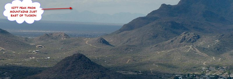 THE KITT PEAK OBSERVATORY IS ON THE TOP OF THIS MOUNTAIN OVER 50 MILES WEST OF TUCSON