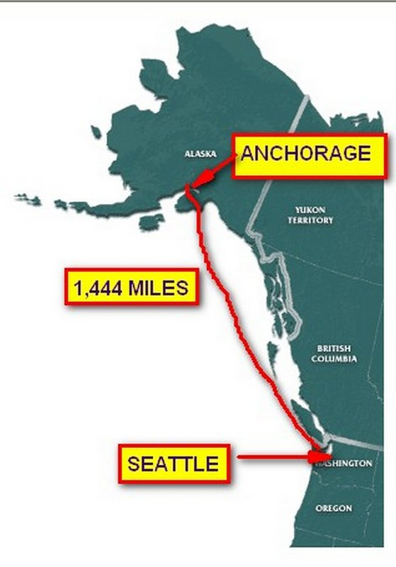 WE FLEW FROM SEATTLE TO ANCHORAGE THUS SAVING OVER 2,200 MILES AND 7 DAYS OF HARD DRIVING