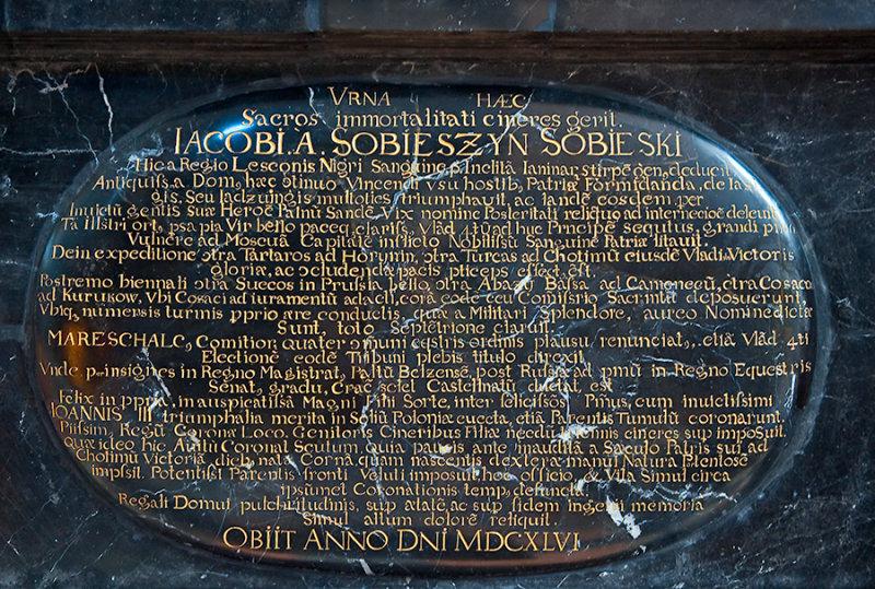 Jakub Sobieski  Gravestone Incsription