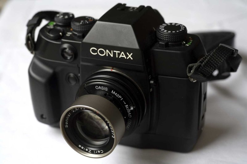 Contax AX with modified G-Sonnar 90mm F2.8