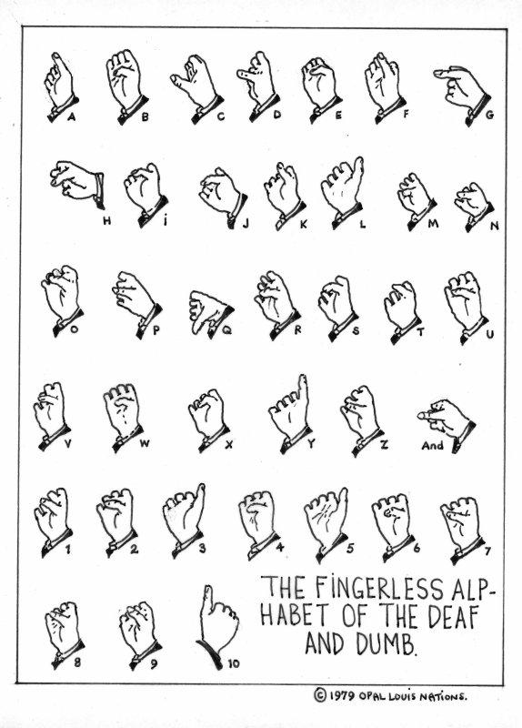 Fingerless alphabet of the Deaf and Dumb