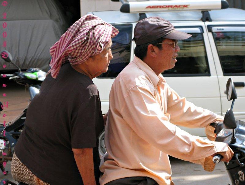 MotoBikers in the town of Siem Reap