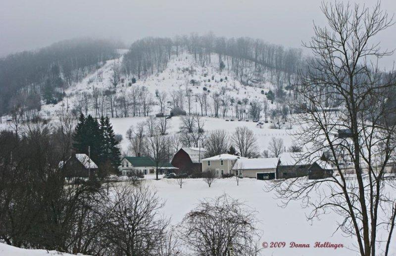 Farm buildings and Alger Hill