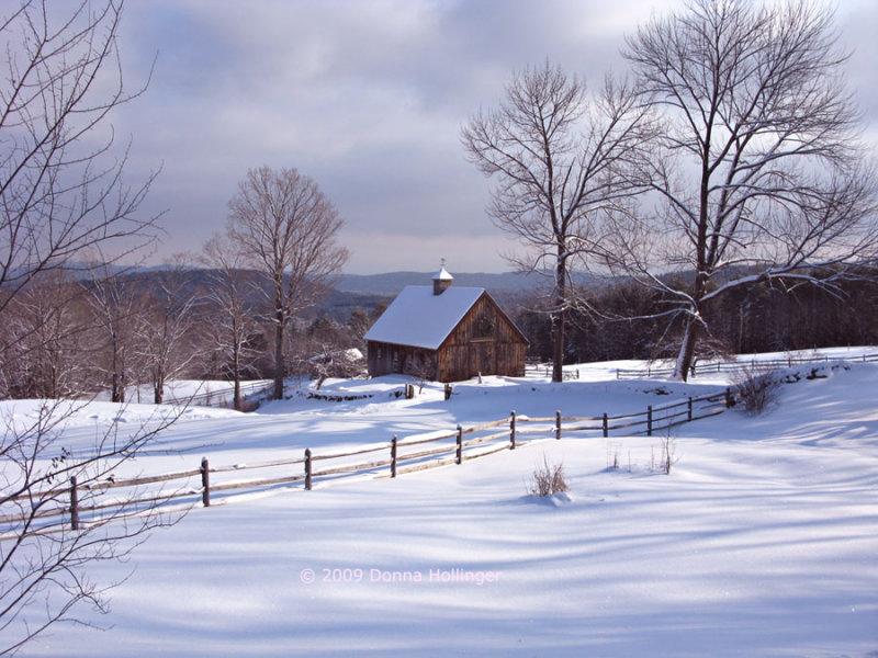 New Boston Road Barn in Snow