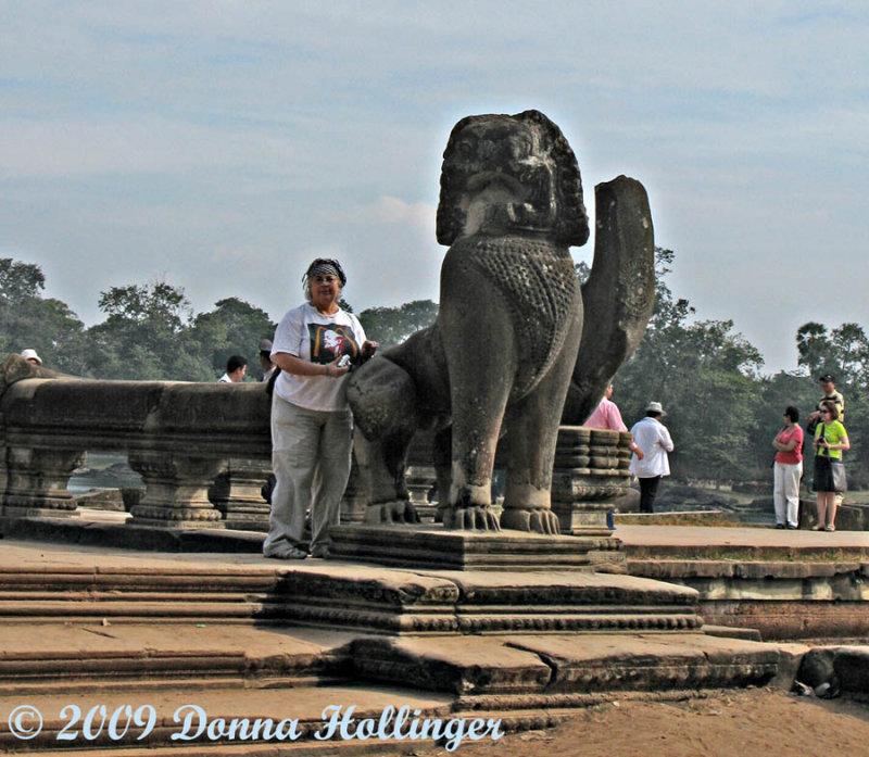 Carolyn with the Naga at Angkor  Entrance