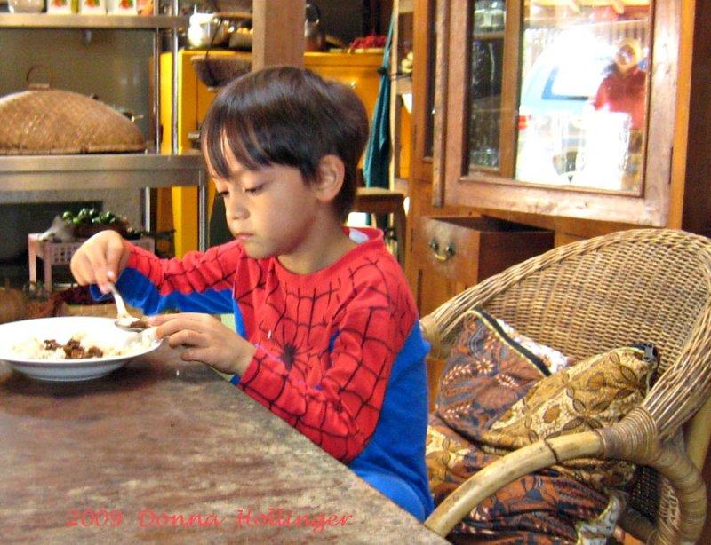 Spiderman Eating Breakfast