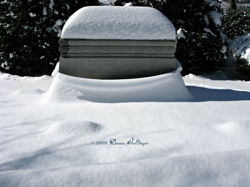 The snow shows the tombs inscription!