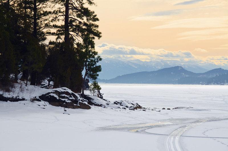 Frozen Flathead Lake in Somers Montana