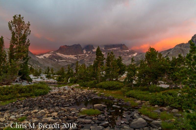 Sunrise of Mt Ritter and Banner Peak.