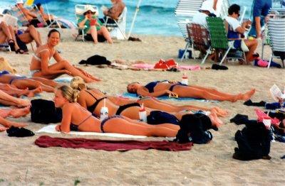 Swim team at the beach