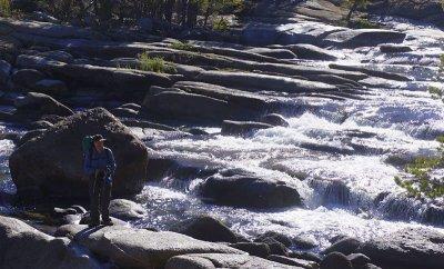Bill at the cascading Tuolumne river