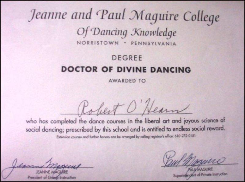 Certification of Divine Dancing Transmission