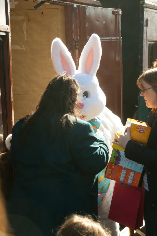 Handing out Easter Eggs