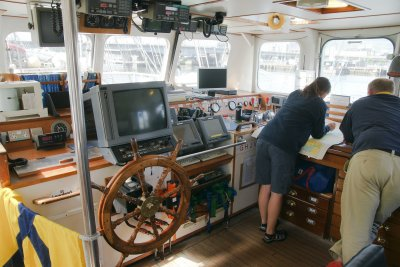 On the bridge of the STS Lord Nelson