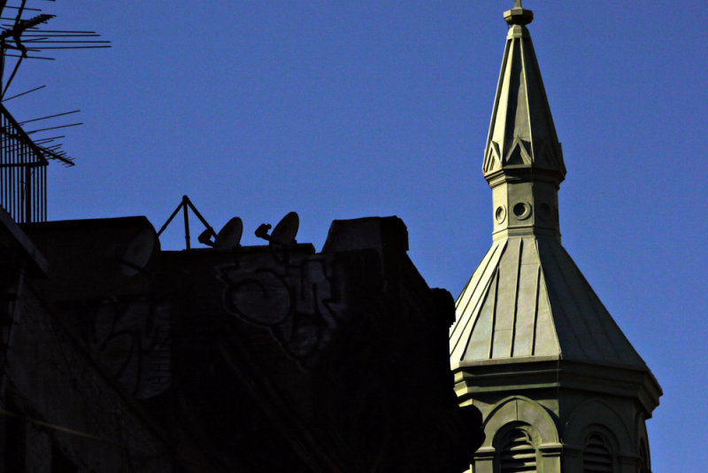 Church and satellite dishes, Chinatown, New York City, New York, 2009