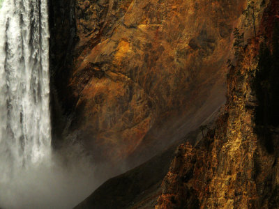 (Example F) Lower Falls of the Yellowstone River, 420mm long telephoto lens, horizontal framing.