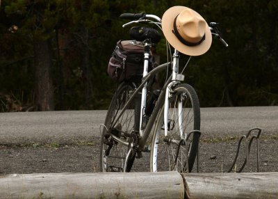 Ranger's bike, Castle Geyser, Yellowstone National Park, Wyoming, 2008