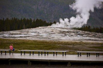 Waiting for Old Faithful, Yellowstone National Park, Wyoming, 2010
