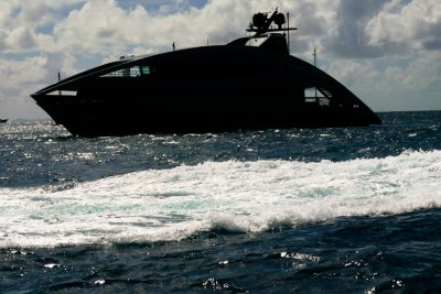 Stealthy yacht, St. Barts. French West Indies, 2011