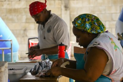 Fish cutters, Municipal market, Bridgetown, Barbados, 2010