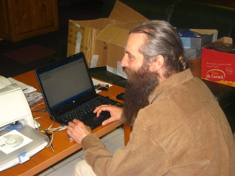 Valentin Grigore at the conference laptop