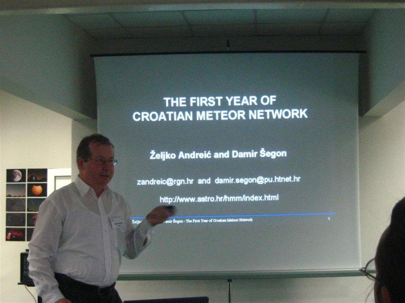 Zeljko Andreic presenting the Croatian fireball network