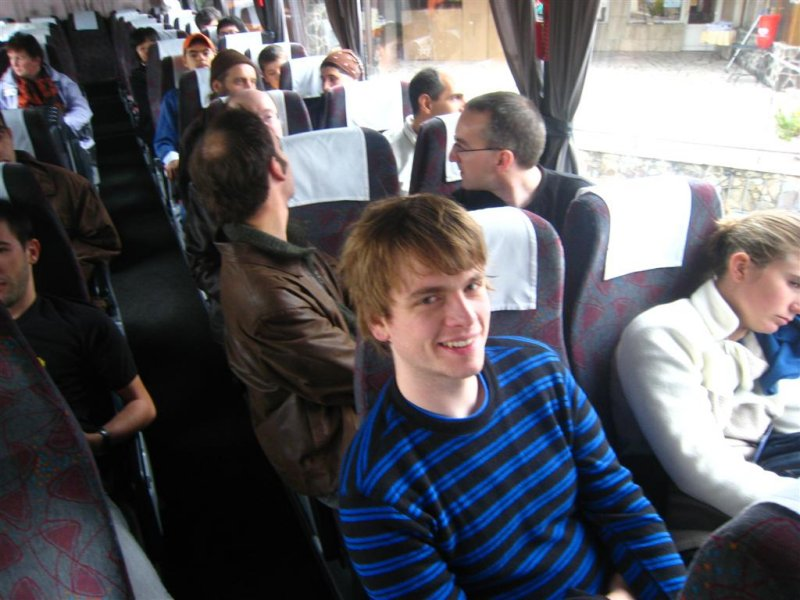 In the bus to the social event