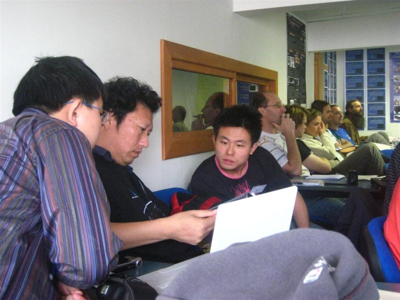 Jin Zhu his laptop and his colleques