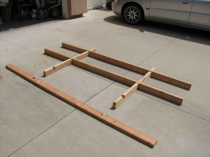 two by four base for cutting sheet goods in the driveway