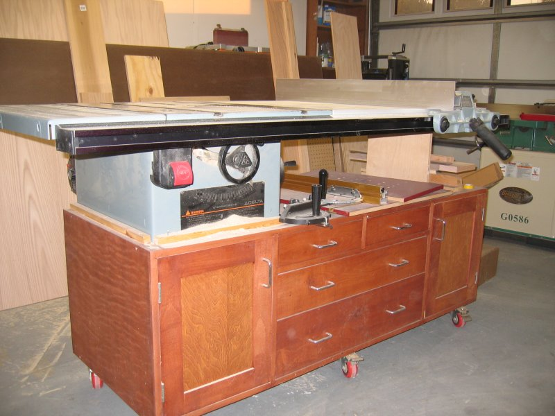 Rolling table saw station