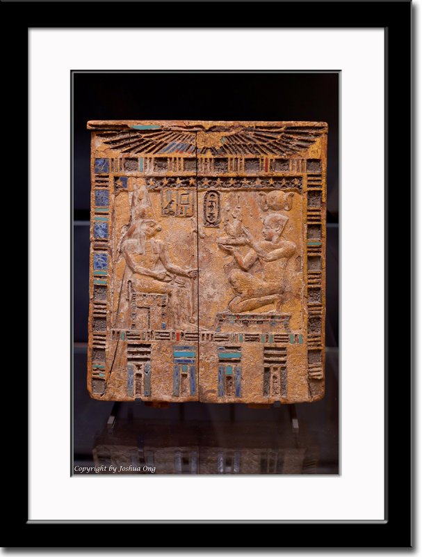 An Ancient Egyptian Relic Depicting Horas and a Pharaoh
