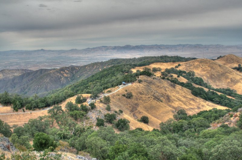 Looking down at the observatory from the peak