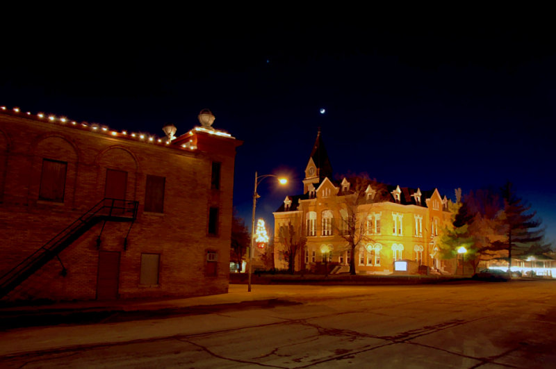 Moon & Venus above Albany Square